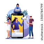 mobile phone  woman with... | Shutterstock .eps vector #1500784799