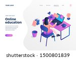 online education isometric...