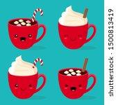 set of four kawaii red cups... | Shutterstock .eps vector #1500813419