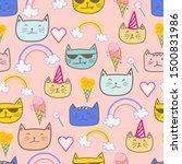 happy cat seamless pattern... | Shutterstock .eps vector #1500831986