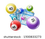 Stock vector bingo lotto game balls and lottery cards with lucky numbers vector poster for bingo lottery tv 1500833273