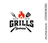 Vintage hipster Grill Barbeque invitation party barbecue bbq with crossed fork spatula and fire flame Logo design