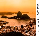 Small photo of Rio de Janeiro, Brazil. Suggar Loaf and Botafogo beach viewed from Corcovado mountain. Rio is second largest city of Brazil, and third largest metropolitan area and agglomeration in South America.