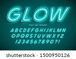 neon light 3d alphabet  extra... | Shutterstock .eps vector #1500950126