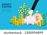 businessman hand put coin in... | Shutterstock .eps vector #1500954899