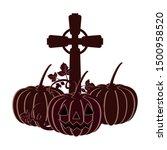 halloween pumpkin with scary... | Shutterstock .eps vector #1500958520