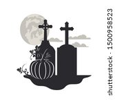 tombstone with pumpkin on white ... | Shutterstock .eps vector #1500958523