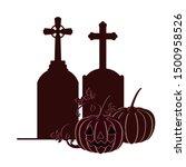 halloween pumpkin with scary... | Shutterstock .eps vector #1500958526