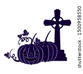 halloween pumpkin with scary... | Shutterstock .eps vector #1500958550