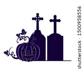 halloween pumpkin with scary... | Shutterstock .eps vector #1500958556