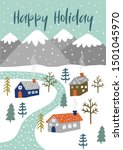Holiday Illustration with snowy village landscpae