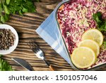 Stock photo herring under fur coat traditional russian salad herring under a fur coat vintage wood background 1501057046