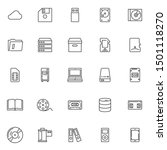 Data Storage Line Icons Set....