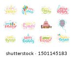 set of happy birthday... | Shutterstock .eps vector #1501145183