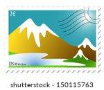 mountain landscape stamp... | Shutterstock . vector #150115763