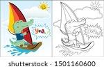 Vector Cartoon Of Crocodile...