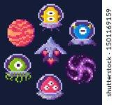 pixel game icons vector  planet ... | Shutterstock .eps vector #1501169159