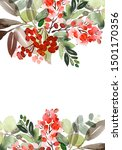 christmas watercolor card with... | Shutterstock . vector #1501170356