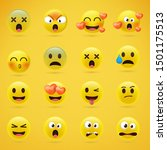 cartoon emoji collection. set... | Shutterstock .eps vector #1501175513