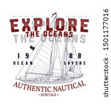 explore the oceans.sketch sail... | Shutterstock .eps vector #1501177016