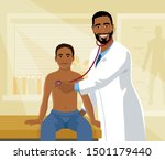 african male doctor and child... | Shutterstock .eps vector #1501179440