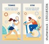 girl tennis player beat ball... | Shutterstock .eps vector #1501185206