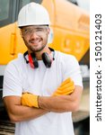 worker at a construction site... | Shutterstock . vector #150121403