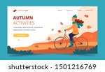 girl riding bike in the park in ... | Shutterstock .eps vector #1501216769