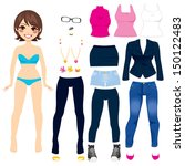 cute short hair brunette paper... | Shutterstock . vector #150122483