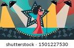 cartoon woman in dress on stage ... | Shutterstock .eps vector #1501227530