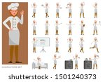 set of chef woman working... | Shutterstock .eps vector #1501240373