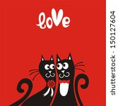 valentines day card cats vector ... | Shutterstock .eps vector #150127604