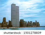 Small photo of NEW YORK, Manhattan, United States., circa 1980: Iconic World Trade Center featured as landmark of the Twin Towers from New Jersey and Hudson River. Archival vintage cityscape of New York city skyline