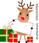 Christmas Reindeer With Shiny...