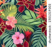 seamless tropical pattern with... | Shutterstock .eps vector #1501319303