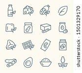 vegan foods line vector icon set | Shutterstock .eps vector #1501329170