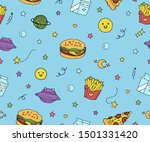 cute blue seamless pattern with ... | Shutterstock .eps vector #1501331420