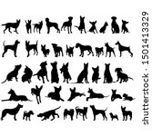 Stock vector vector on a white background icon black silhouette of a dog collection 1501413329