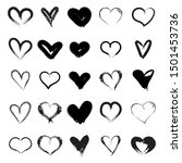 vector hearts set. hand drawn.... | Shutterstock .eps vector #1501453736