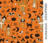 kids halloween background.... | Shutterstock .eps vector #1501499000