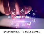 finger touching tablet with... | Shutterstock . vector #1501518953