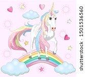 magic cute unicorn  walking on... | Shutterstock .eps vector #1501536560