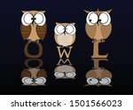 The Owl Family Stands On The...