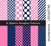 Navy Blue  Pink And White Polka ...