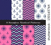 Nautical Navy Blue  Pink And...