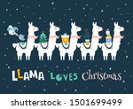 christmas card with llama.... | Shutterstock .eps vector #1501699499