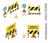 under construction sign 3d icon ... | Shutterstock .eps vector #1501722203