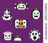 set of pumpkins isolated vector ... | Shutterstock .eps vector #1501722833