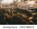 Thundercloud And Fog In Autumn