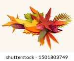 composition of 3d autumn leaves | Shutterstock .eps vector #1501803749